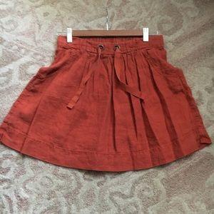 JCrew burnt orange Linen drawstring skirt size 0
